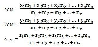 Cálculo del Centro de Masas de un Sistema de Masas Discreto Coordenadas